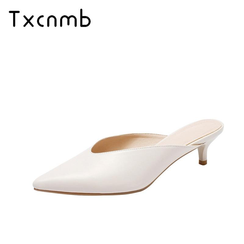 TXCNMB Women Sandals Genuine Leather summer High Heels 2019 Summer Casual wedding Shoes Woman Slippers big
