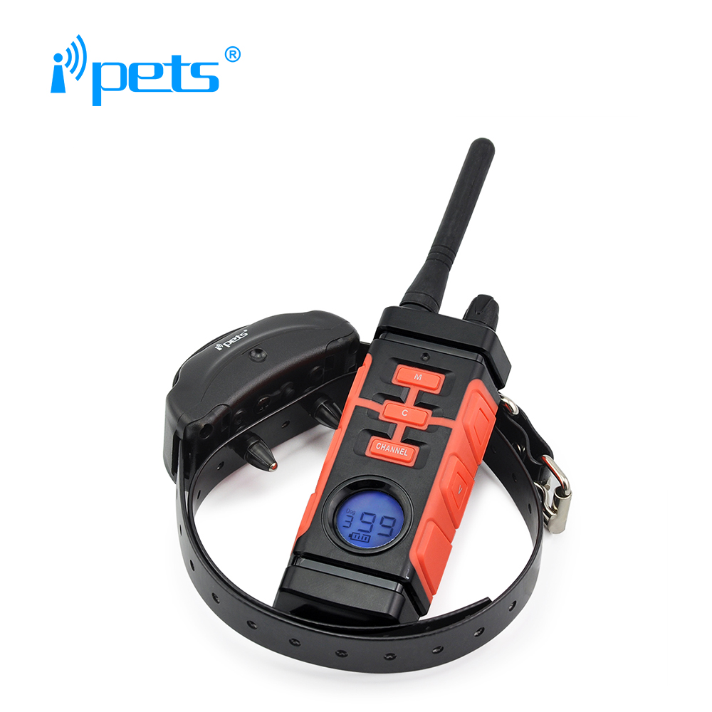 Ipets PET616 800M Rechargeable And Waterproof Vibration Electric Dog Training Collar Shock Collar Electric Dog Bark