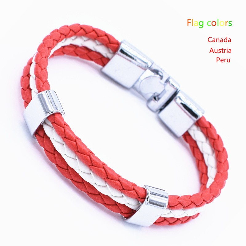 Wholesale Length 21cm 3 Strands Rope Braided Leather Chain & Link Bracelet Men Wristband National Flags Color Sports Bracelets 3