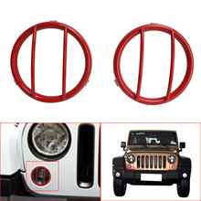 2PCS Red Rear Front Turn Signal Lights Lamp Guards Steel Cover Exterior Accessories For 2007-2016 Jeep Wrangler JK //