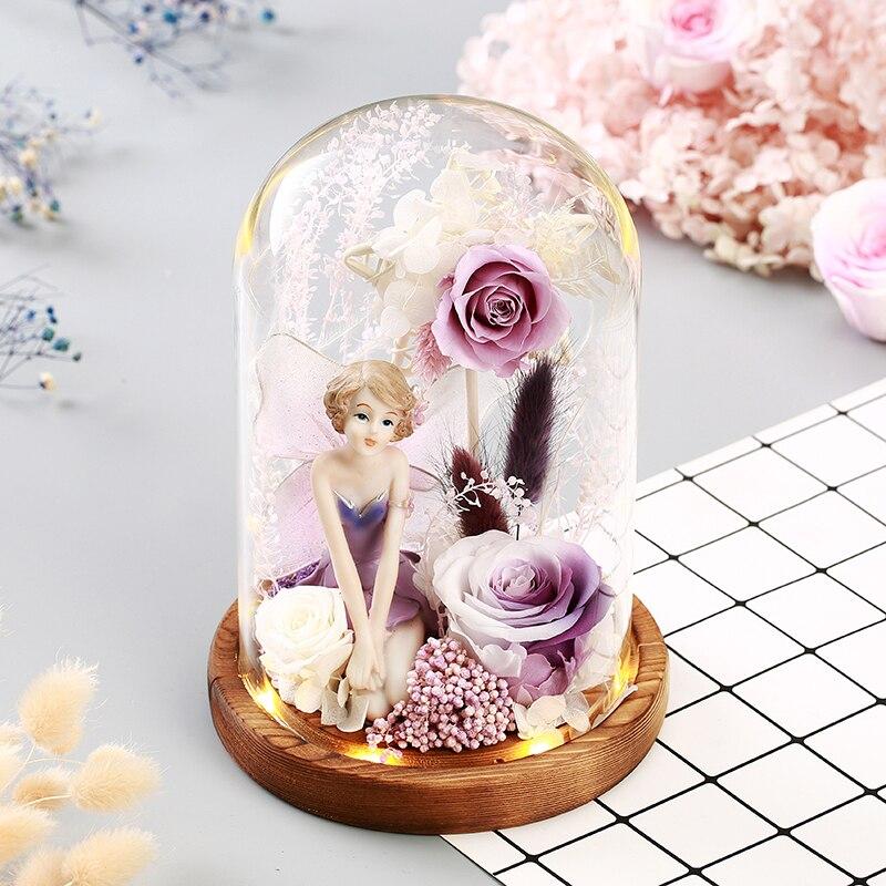 Neue Santa Claus Geschenke Engel Mädchen Ornament Desktop Licht Nacht Led-leuchten Rose Blumen Für Valentinstag für Weihnachten neue Jahr