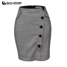 GLO-STORY 2018 Autumn Fashion Women Vintage Geometric Asymmetry Skirts with Button Pocket Ladies WQZ-1810