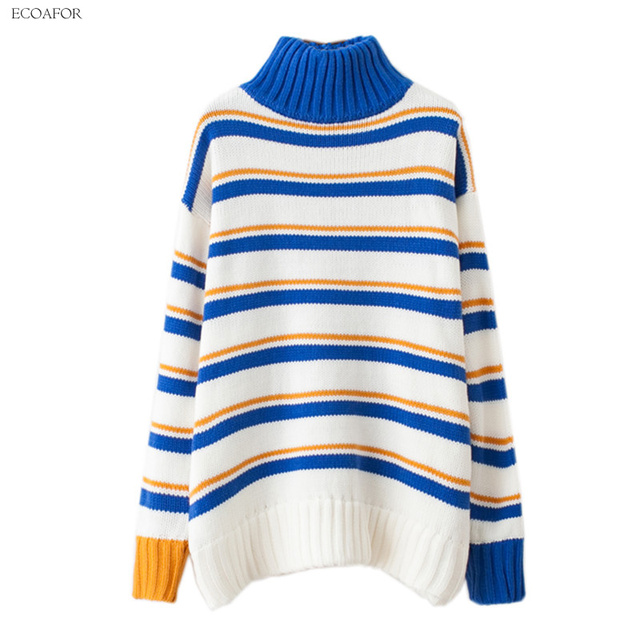 8f58774cee993 Turtleneck Sweater Women High Neck Thicken Warm Colorful Striped Pullover  Pull Knitwear Jumper Female Loose Oversized Sweater
