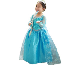 Hot Selling 4-10 Years Kid Baby Girl Dresses anna Blue Children Party Dress Girls elsa Dress Princess Costumes for Kids Clothes