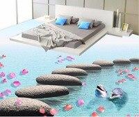 3d floor painting wallpaper Stone flower water dolphin 3D floor tile floor painting pvc self adhesive wallpaper
