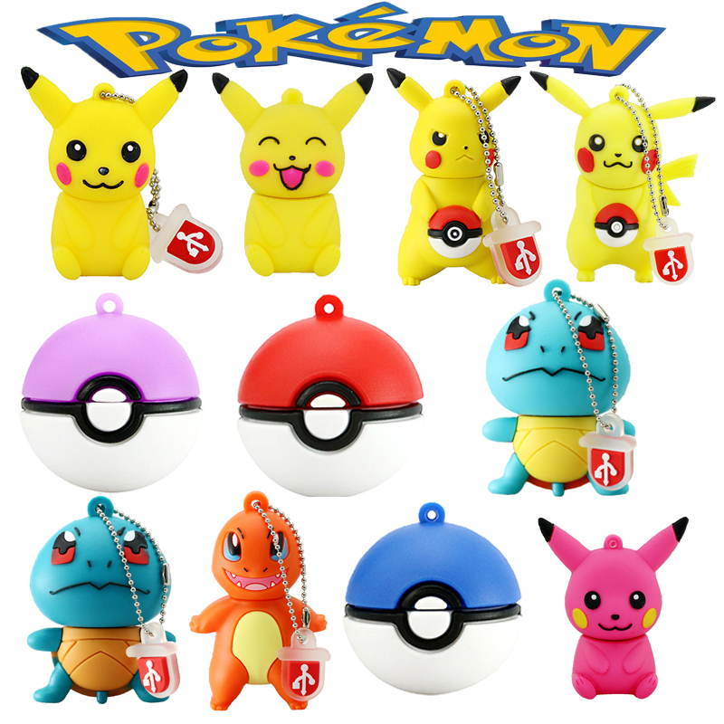Pendrive Cartoon Animal Cute Pokemon Pikachu Shape USB Flash Drive 8GB 16GB 32GB 64GB 128GB Pen Drive USB 2.0 Flash Memory Stick
