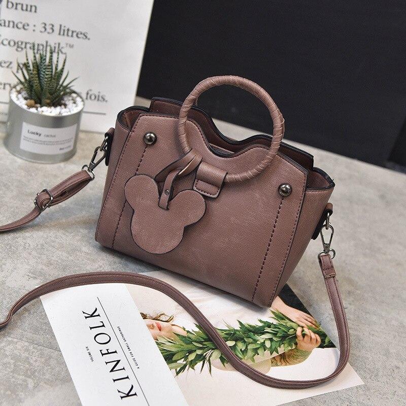 Female Bag 2019 Autumn And Winter New Disney Woven Ring Handbags Fashion Mickey Pendant Shoulder Messenger Bags