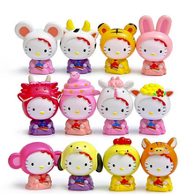 12pcs/set Mini Hello Kitty Action Figure Chinese Zodiac Hello Kitty PVC Action Figures Toys Kitty Cat Toy for Festive Supplies