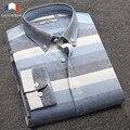 Langmeng Marca Primavera Verão 2016 Mens Longo-Vestido Listrado de mangas compridas Camisa Slim Fit Mens Clássico Business Casual Trabalho social camisa