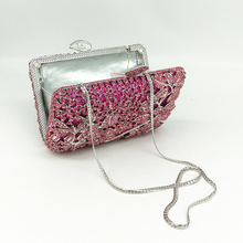 Fuchsia Hollow Out Floral Rhinestones Evening Party Clutch Bags (2 colors)
