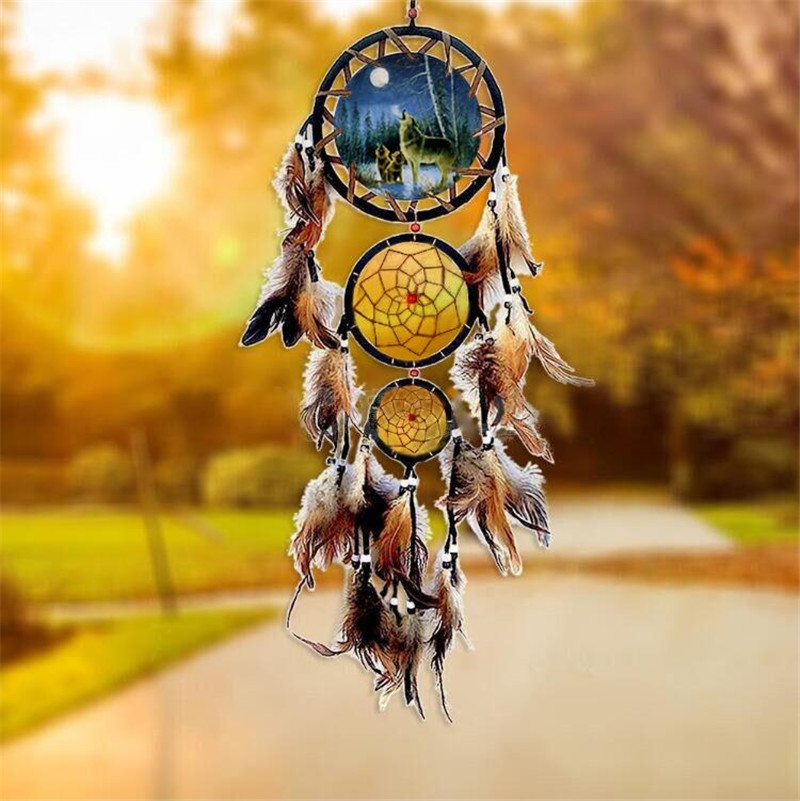 Fashion Handmade Wolf Dreamcatcher Bedroom Car Hanging Decor Ornament 3 Circular Net Feather Indians Dream Catcher Craft 20 Hot