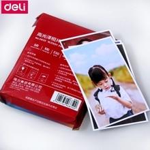 """100 hojas/lote de papel fotográfico brillante Deli 6 """"4R (102x152mm) 7"""" 5R (127x178mm) A4 (210x297mm) papel fotográfico de chorro de tinta de color 200g 230g"""