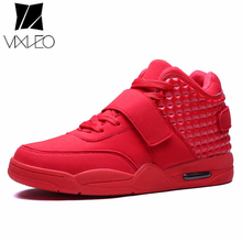 VIXLEO Fashion Men Air Cushion Shoes High Top Casual Red Faux Suede Leather Men Breathable Bootss British Style Zapatillas Femme
