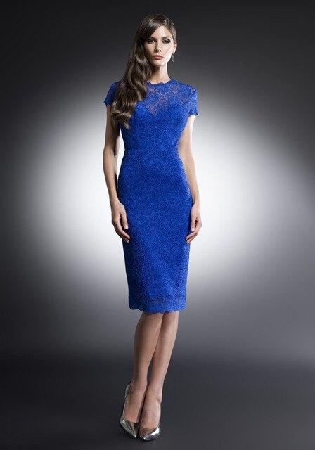 3a8cd32fd Robe de soirée Vestido de Coctel Azul Al Por Mayor de Manga Corta Longitud  de La