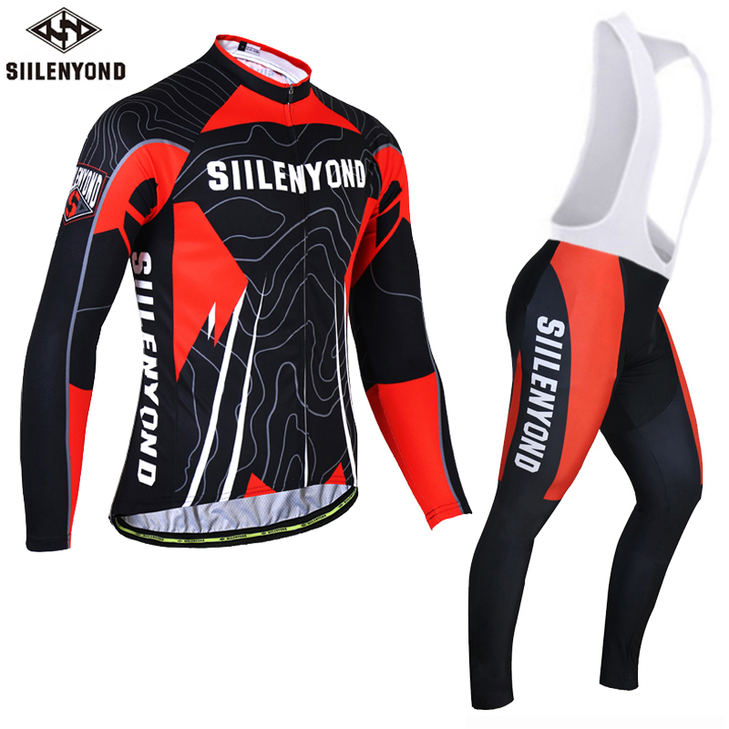Siilenyond 2017 Long Sleeve Cycling Jersey Set Winter Bicycle Thermal Fleece Maillot Ropa Ciclismo Invierno MTB Bike Clothing malciklo winter fleece thermal cycling jersey set long sleeve bicycle bike clothing pantalones ropa ciclismo invierno wears