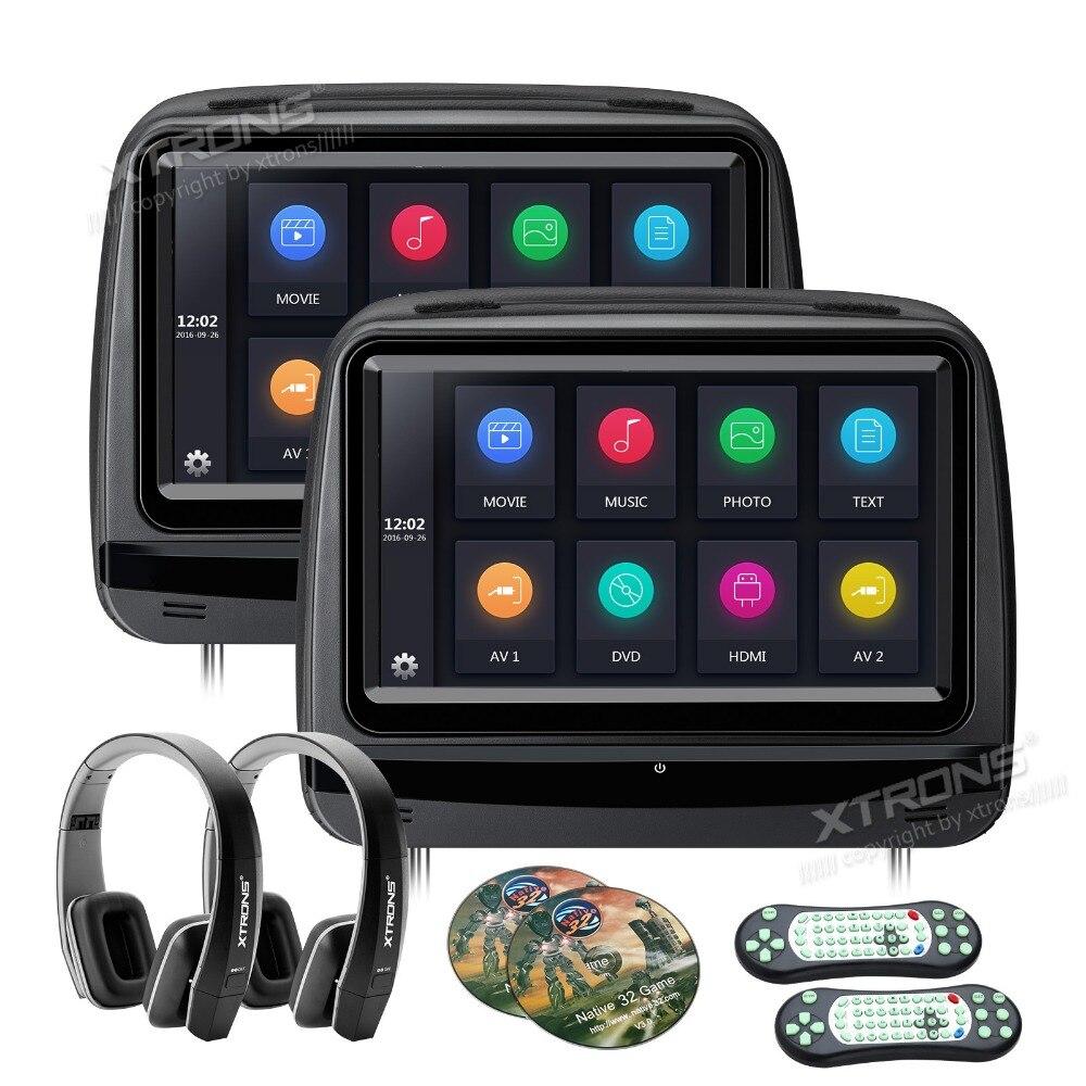 imágenes para Xtrons 2 unids monitores de 9 pulgadas hd de pantalla táctil digital de coches Cubierta de Cuero reposacabezas Reproductor de DVD con 1080 P de Vídeo HDMI USB 2 auriculares