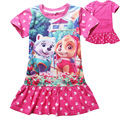 Retail Hot 4-7Y Children Girls Dress New 2016 Fashion Dog Dress Girls Clothing Casual Baby Girls Summer Princess Tutu Dresses