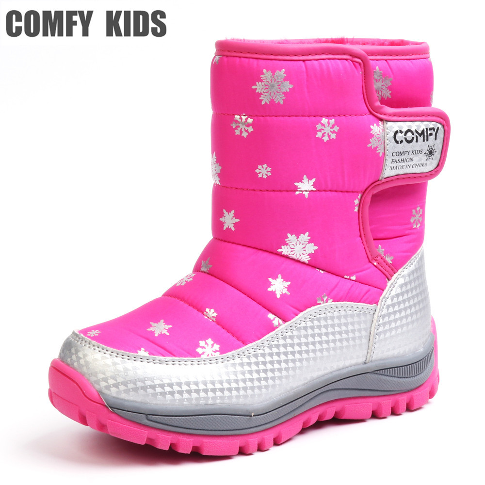 COMFY KIDS  Warm Waterproof snow Boots Shoes For Boy and Girls Thicken Plush Winter TPR Sole Child fashion kids shoes