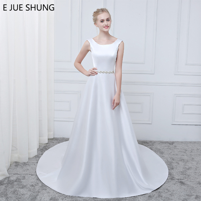 E JUE SHUNG Simple Luxury Wedding Dresses White Satin Crystals Sash ...