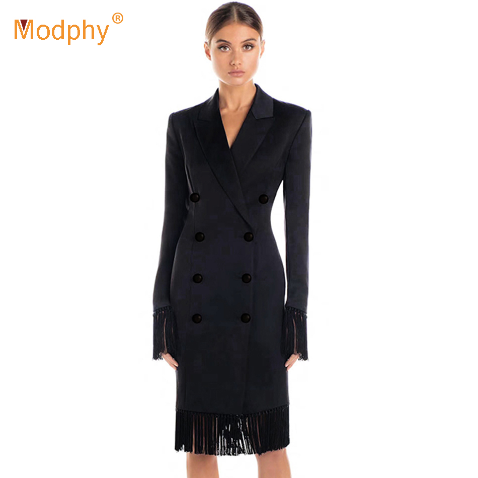 2019 New spring Women Slim Black Coat   Trench   V-Neck Double Breasted Long Sleeve Tassel Button Fashion Women Out Wear Coats