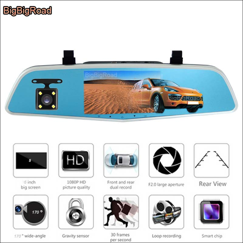 BigBigRoad Car DVR with two cameras For hyundai ix35 Car Rearview Mirror Video Recorder Dual lens 5 inch IPS Screen dash cam bigbigroad for jeep sahara renegade car dvr rearview mirror video recorder car dvr dual camera novatek 96655 5 inch ips screen