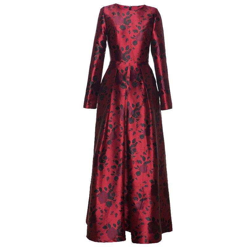 Automne Soirée Imprimer Femmes Parti Manches O Robe Longue Grand Maxi 2019 cou Printemps Taille Bal Robes De Vintage Longues 0OqwHY
