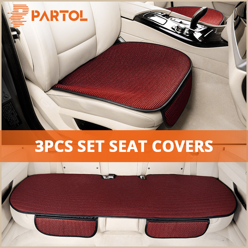 цена на Partol 3Pcs/Set Universal Car Seat Covers Auto Car Seat Protector Front Rear Automobile Seat Cover Cushion Pad Mat Car Styling