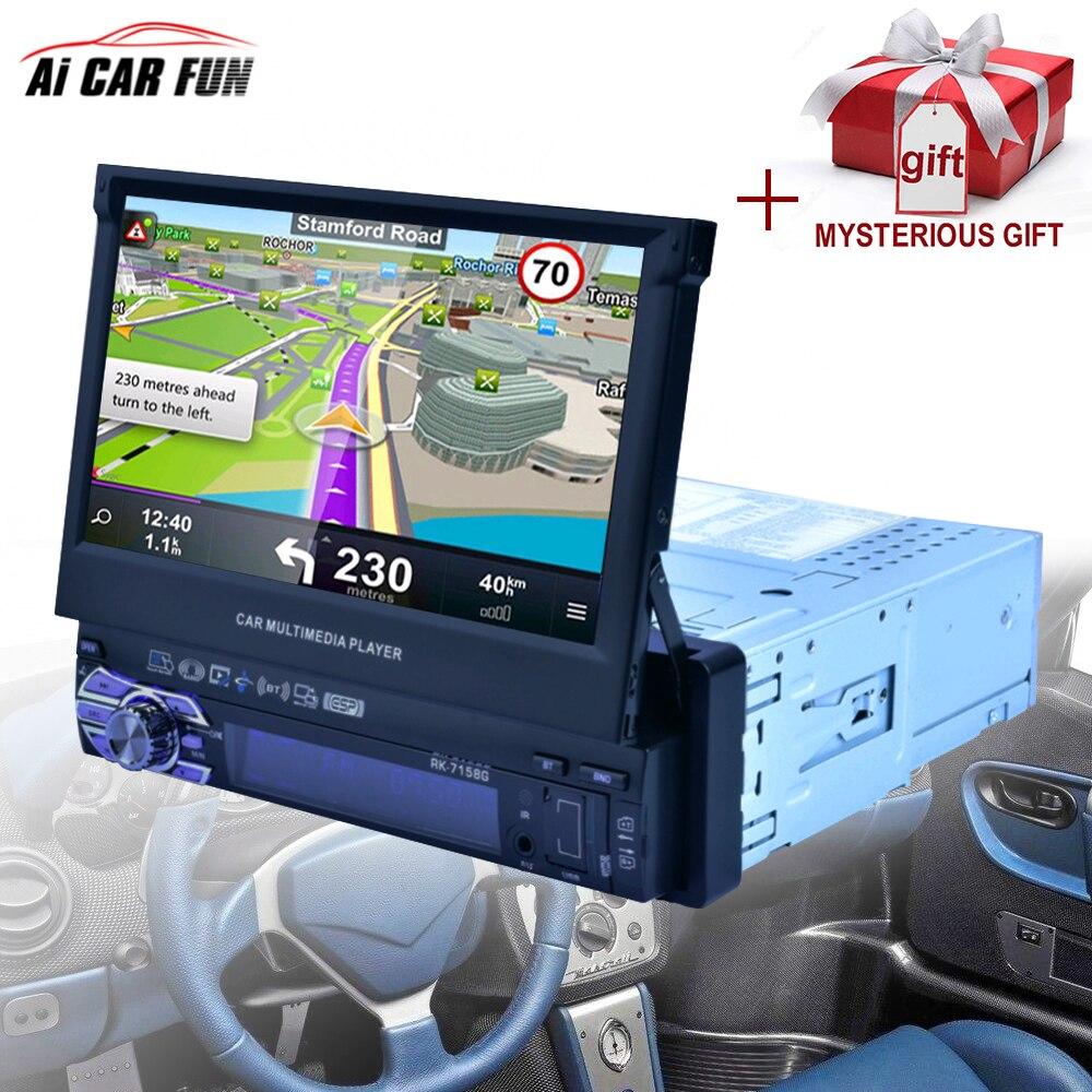 RK-7158G autoradio Médias lecteur multimédia Véhicule-Monté Plein Écran Rétractable MP5/MP4/MP3 navigation gps caméra de Recul