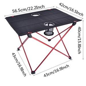 Image 2 - Vilead 超軽量アルミピクニックキャンプテーブル 56*42*40 センチメートルポータブル折りたたみ waterfproof 屋外ビーチテーブルボトル hoder