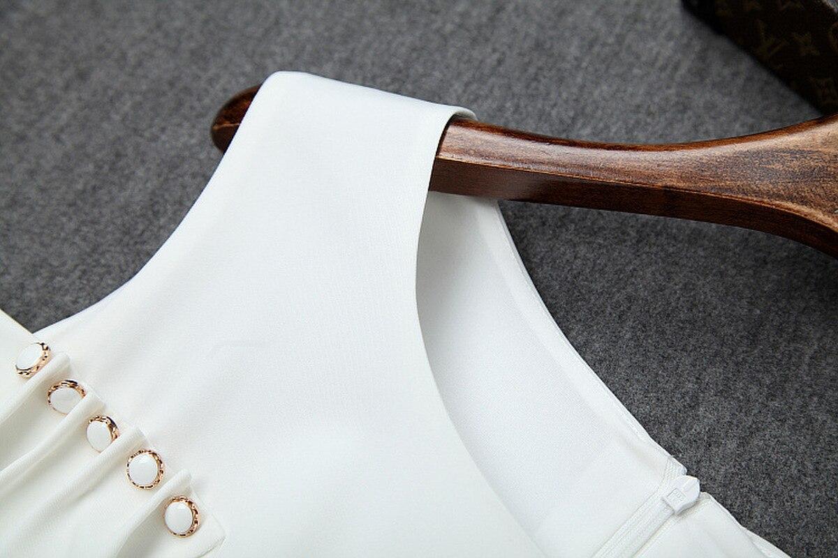 Женское офисное платье с О образным вырезом без бретелек, Элегантное Длинное платье средней длины с разрезом на пуговицах, лето 2019 - 3