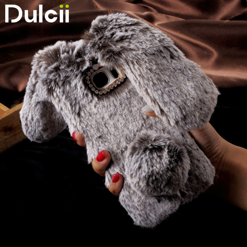 Galleria fotografica DULCII Phone Case for Samsung Galaxy A3 A5 A7 2017 TPU Cover J3 J5 J7 2017 Cute Fur Soft Rabbit Coque S8 Plus S8+ S7 Edge Shells