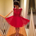 2017 New Pretty Girl's Red Chiffon Cap Sleeve Crystal A-Line Short/Mini Dress Formal Gown robe de cocktail Dresses Custom Size