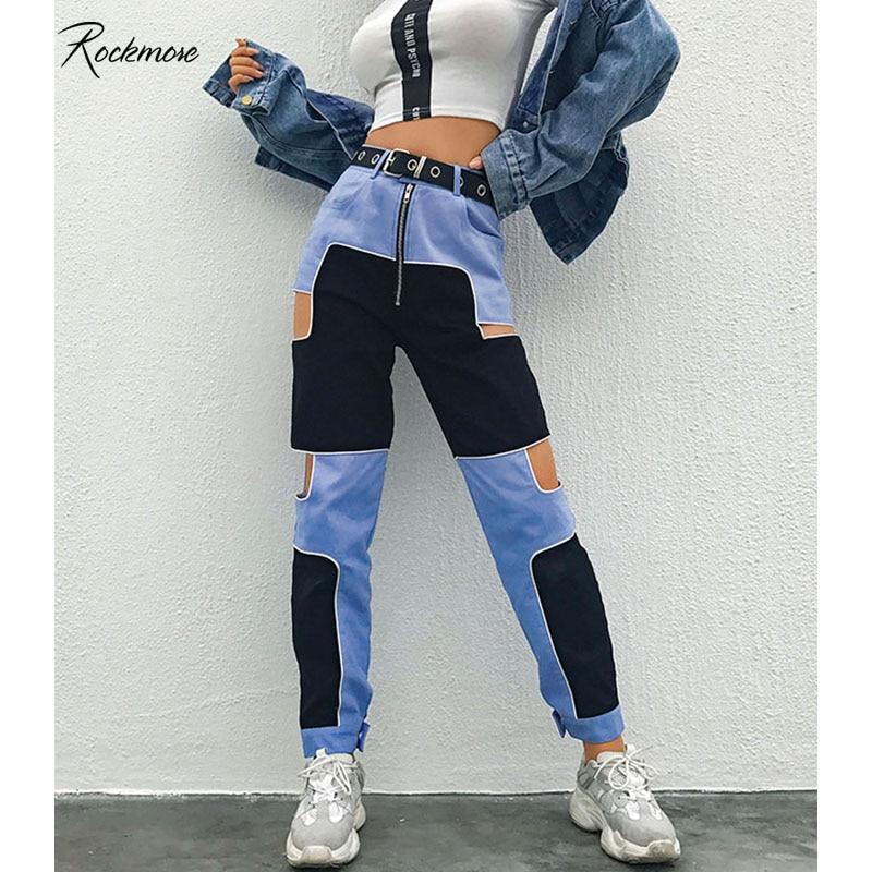 Rockmore Jeans Harajuku Pants Women Joggers Patchwork Streetwear Trousers Hollow Out Plus Size Dance Pants Hip Hop Sweatpants