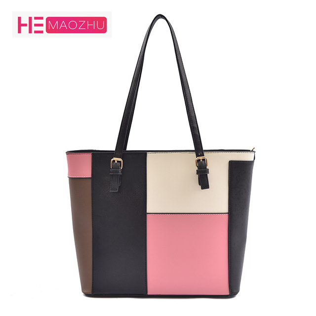 ce13aadf75 PU2018 Designer New Fashion Woman s Bag Handbag Contrast Color Cross  Section Square Large Capacity Tote Bag Shoulder Bag Handbag