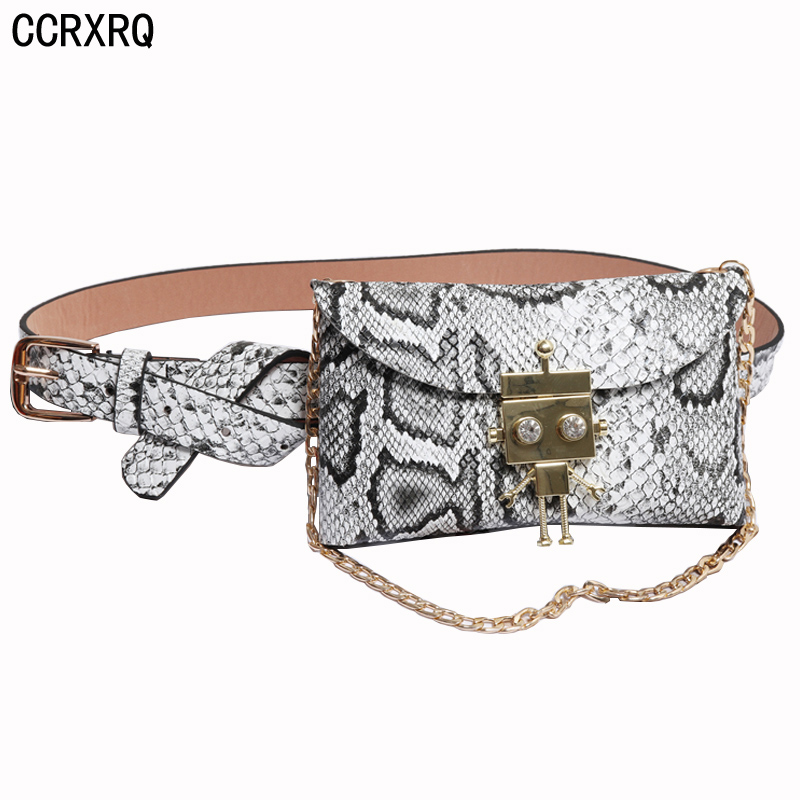 c5c33de76de US $9.4 42% OFF|Women Waist Bag Fashion Chain Fanny Pack Female Serpentine  Ladies Belt Bag Cartoon Buckle Punk Purse Phone Bags Handy Chest Bags-in ...