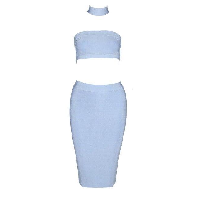 9ff1c47cdfb0 Top Quality HL Khaki Light Blue 2 Pieces Set Off The Shoulder Rayon Bandage  Dress Night