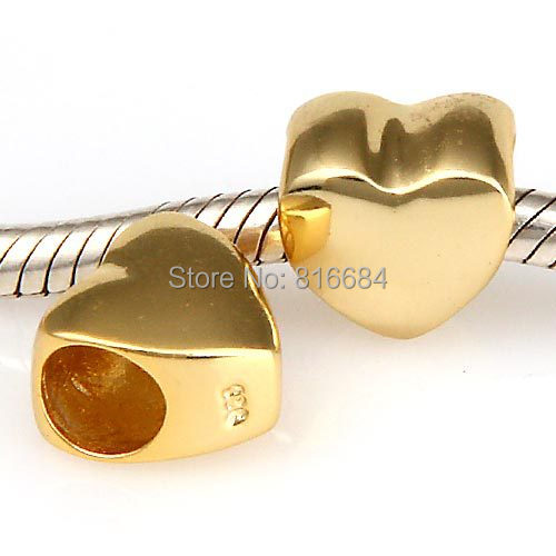 ZMZY Jewelry New Style Gold Heart Charms Genuine 925 Sterling Silver European Charm Beads For Pandora Charms Bracelets