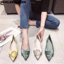купить 2019 New Fashion Women Flats Shoes Slip On Casual Loafers Pointed Toe Shallow Flat Ballerina Brand Rhinestone Buckle Party Shoes по цене 1451.25 рублей