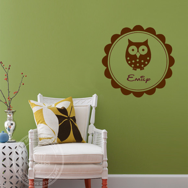 Fast Shipping Size 55*55cm Personalized Name Owl Wall Sticker Vinyl  Home Decor Kids Decals