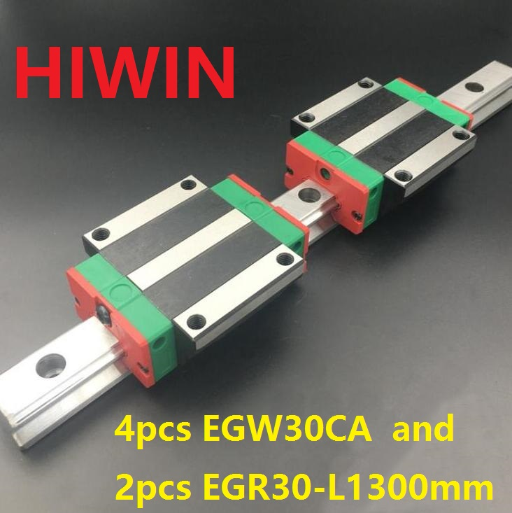 2pcs 100% original HIWIN linear rail guide EGR30 -L 1300mm + 4pcs EGW30CA linear flange block carriage for CNC router 2pcs 100% original hiwin linear guide rail egr30 l 1800mm 4pcs egh30ca linear block cnc router