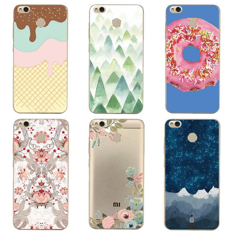 Flora Soft Clear TPU Phone Case For xiaomi redmi 4x 4a note5a note4x 5s 5s mi6 note3 Starry Icecream Fundas Cover Free Shipping