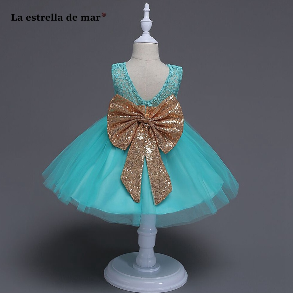 La estrella de mar vestidos primera comunion new Scoop tulle sequins fluffy pink ivory turquoise   flower     girl     dresses   short plus