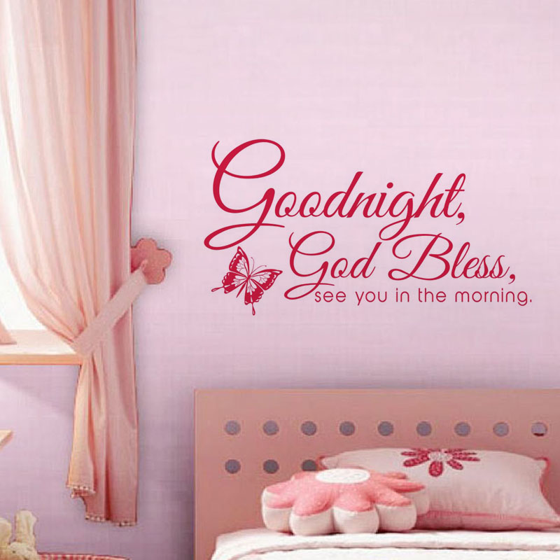 US $8 25 24% OFF|Goodnight God Bless Wall Stickers Quotes Bedroom  Decorations Butterfly Wall Decals Vinyl Art Mural-in Wall Stickers from  Home &