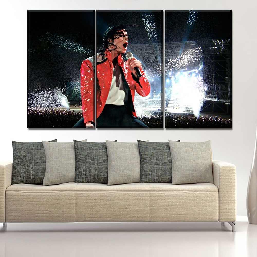Wall Art Music Painting Framework One Set 3 Pieces Michael Jackson Concert Pictures Modern Living Room Decor HD Printed Poster