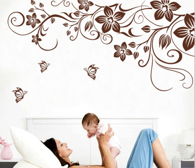 Brown flower vine DIY Vinyl Wall Stickers Home Decor Art Decals 3D Wallpaper Bedroom Sofa house decoration adesivo de parede