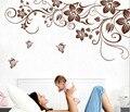 Коричневый цветок лоза DIY виниловые наклейки на стену домашний декор книги по искусству наклейки 3D обои спальня диван украшения дома adesivo де parede - фото