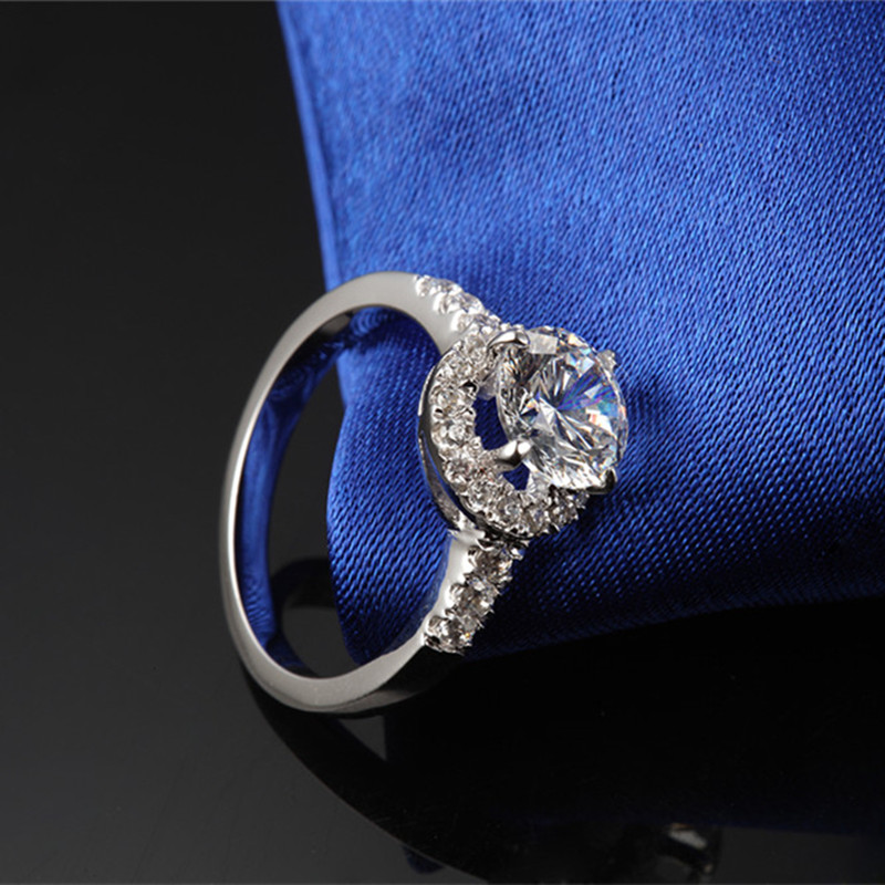 THREEMAN 585 подлинное золото круглые отличные ювелирные изделия проложили микро 2CT взаимодействие синтетических алмазов Брендовое кольцо для женщин невесты 585