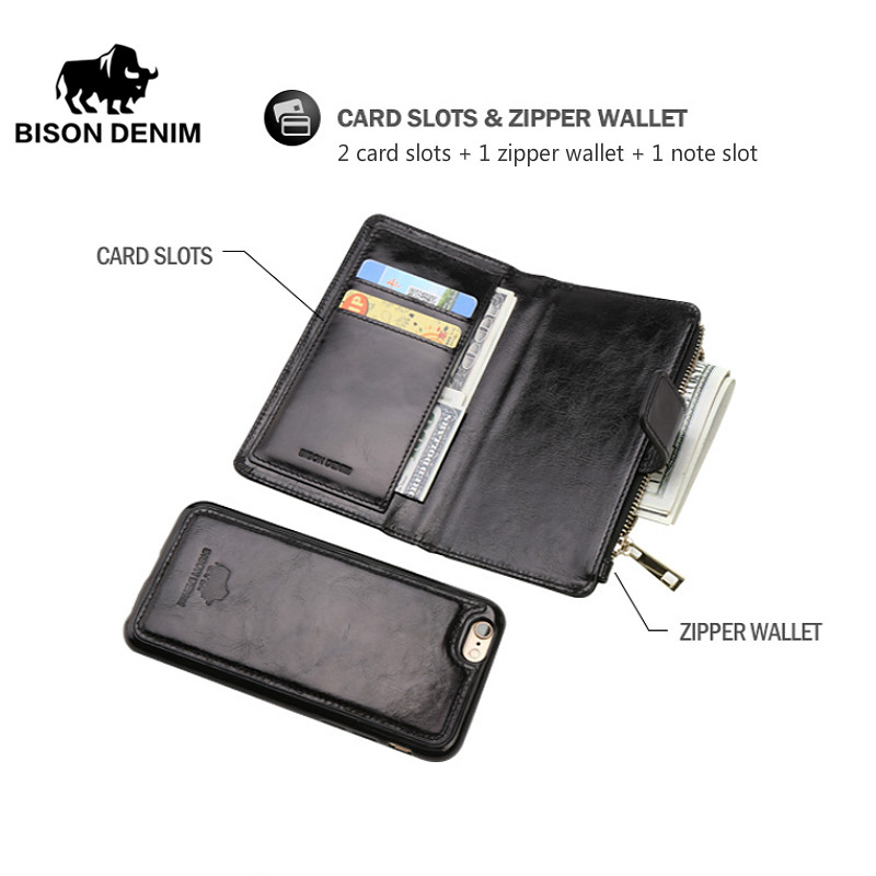 BISON DENIM Genuine Leather iPhone Wallet Case Card Holder Iphone 6 7 plus Leather Cover Flip Wallet with Coin Pocket W9367 for iphone 7 plus pattern printing light spot decor leather wallet case with lanyard cute cow