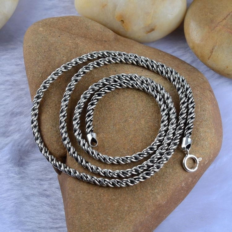 925 Sterling Silver Jewelry Vintage Silver Necklace woven rope and xh032637w