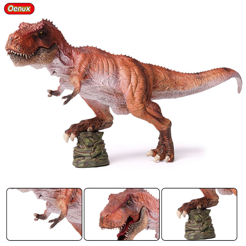 Oenux Large 32x8x19cm Dinosaur Park World King Tyrannosaurus Rex T-Rex Open Mouth Figurines Model Dinosaurs Action Figure Toys 37 cm tyrannosaurus rex with platform dinosaur mouth can open and close classic toys for boys animal model without retail box